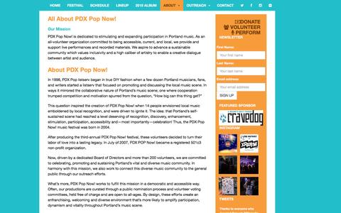Screenshot of About Page pdxpopnow.com - ABOUT | PDX POP NOW! 2015 | JULY 24-26th 2015 - captured Dec. 5, 2015