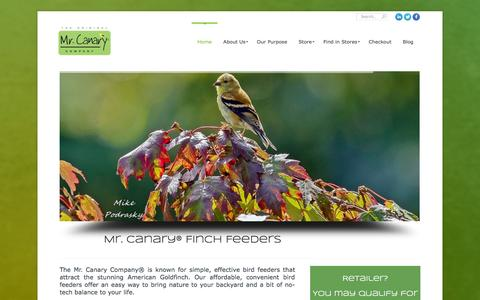 Screenshot of Home Page mrcanary.com - The Mr. Canary Company | Feeding birds and the human spirit one feeder at a time. - captured Oct. 6, 2014