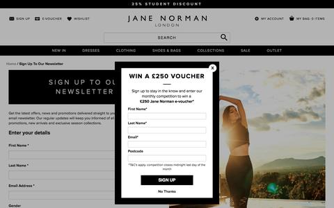 Screenshot of Signup Page janenorman.co.uk - Sign Up To Our Newsletter  | Jane Norman - captured Sept. 20, 2016