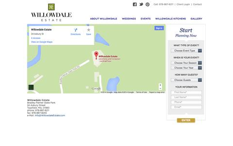Screenshot of Contact Page willowdaleestate.com - » Contact - captured Oct. 7, 2014