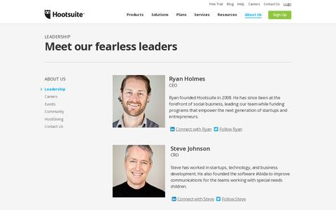 Screenshot of Team Page hootsuite.com - Meet the Hootsuite leadership team - captured July 20, 2014