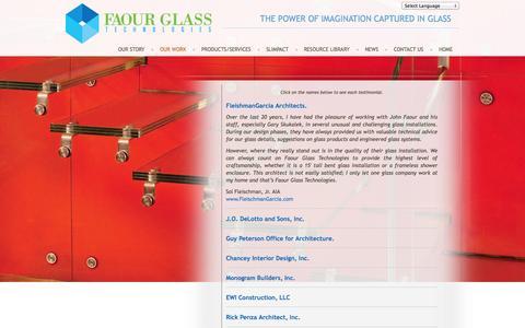 Screenshot of Testimonials Page faourglass.com - Testimonials - Faour Glass - captured Oct. 5, 2014