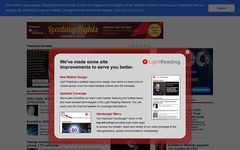 Screenshot of Home Page lightreading.com - Light Reading - captured Feb. 11, 2020