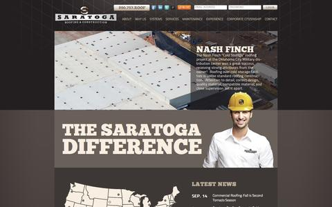 Screenshot of Home Page saratogaroofing.com - Saratoga Roofing - captured Sept. 19, 2014