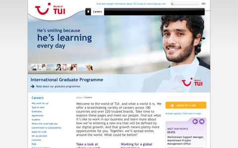 Screenshot of Jobs Page tuitravelplc.com - Careers | TUI Group - captured Feb. 16, 2016