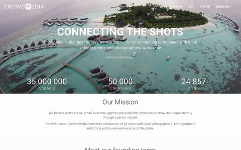 Screenshot of About Page crowdmedia.co - CrowdMedia | Custom-made videos, photos and drone visuals. - captured Aug. 10, 2015