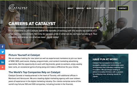 Screenshot of Jobs Page catalyst.ca - Career Opportunities   Catalyst - captured July 12, 2017