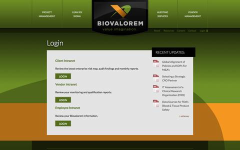 Screenshot of Login Page biovalorem.com - Login | Biovalorem - captured Sept. 30, 2014