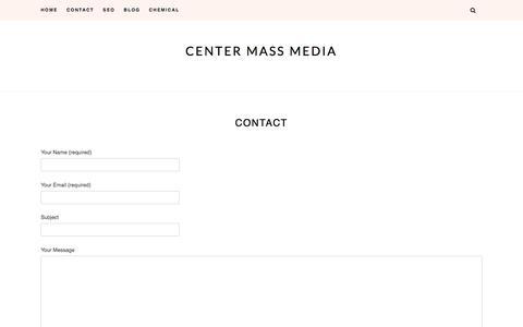 Screenshot of Contact Page centermassmedia.com - Contact – Center Mass Media - captured Feb. 21, 2020