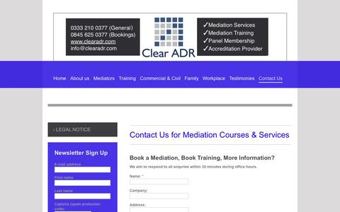 Screenshot of Contact Page clearadr.com - Contact us on 0333 210 0377 or 0845 625 0377 - captured Sept. 30, 2014