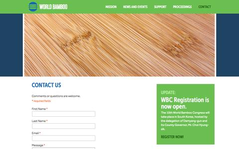 Screenshot of Contact Page worldbamboo.net - World Bamboo Organization | Contact Us - captured Aug. 16, 2015