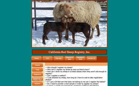 Screenshot of FAQ Page caredsheep.com - California Red Sheep Registry, Inc. - FAQ - captured Oct. 27, 2018