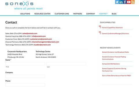 Screenshot of Contact Page sonexis.com - Sonexis Technology - Contact Information - captured Nov. 1, 2017