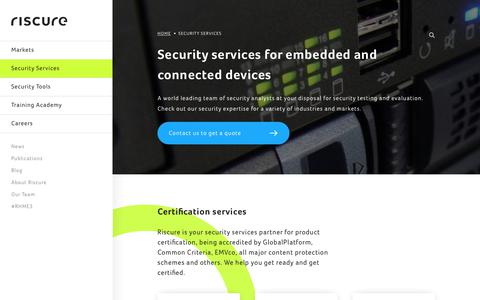 Screenshot of Services Page riscure.com - Security Services - Riscure - captured Nov. 4, 2017