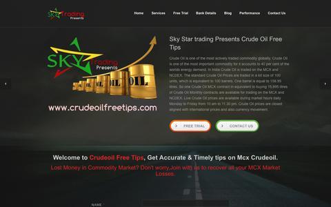 Screenshot of Trial Page crudeoilfreetips.com - Sky Star Trding - Crudeoil Free Tips | MCX Free Trial | Crudeoil Free Trial - captured Sept. 24, 2014