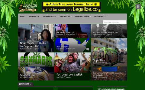 Screenshot of Home Page legalize.co - Legalize.co - Legalize marijuana, educating American's abroad on the use of cannabis, find a dispensary near me, - captured Oct. 2, 2014