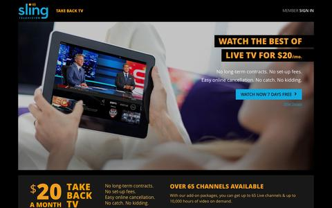 Screenshot of Home Page sling.com - Sling TV - Watch Live TV Programming Any Time and Anywhere - captured Dec. 2, 2015