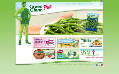 Screenshot of Home Page greengiantfresh.com - Green Giant | Green Giant Fresh US - captured Jan. 27, 2015