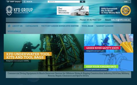 Screenshot of Home Page kfd.com.au - KFD Group. Buy Commercial Diving Tools from Experienced Saturation Diver. - KFD Group - captured Oct. 14, 2018