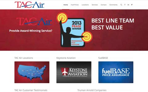 Screenshot of Home Page tacair.com - TAC Air - 14 FBOs with A Passion For Service - captured Sept. 30, 2014