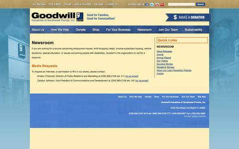 Screenshot of Press Page goodwillswfl.org - Goodwill Southwest Florida: Media Contacts and requests - captured Nov. 2, 2014