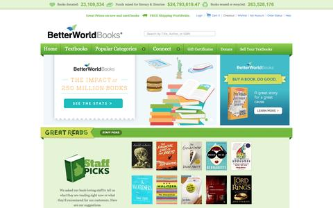 Screenshot of Home Page betterworldbooks.com - BetterWorldBooks.com - New & Used Books for Sale, Textbooks, Book Reviews & more - FREE SHIPPING - captured May 8, 2017