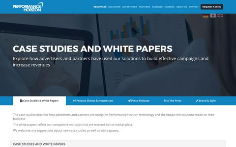 Screenshot of Case Studies Page performancehorizon.com - Resources | Performance Horizon - captured May 26, 2017