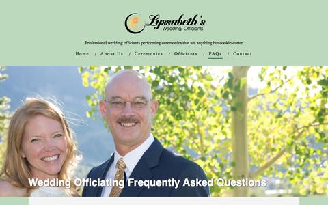 Screenshot of FAQ Page lyssabeths.com - Lyssabeth's Wedding Officiants - Answers to your Questions - captured Nov. 16, 2016