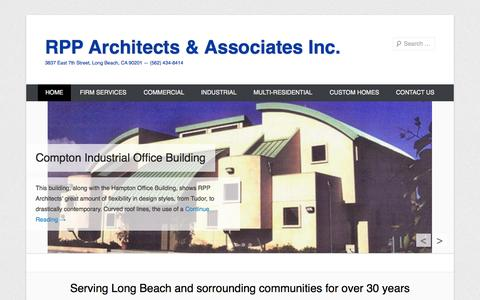 Screenshot of Home Page Menu Page rpparchitects.net - RPP Architects  & Associates Inc.   3837 East 7th Street, Long Beach, CA 90201 — (562) 434-8414 - captured Oct. 9, 2014