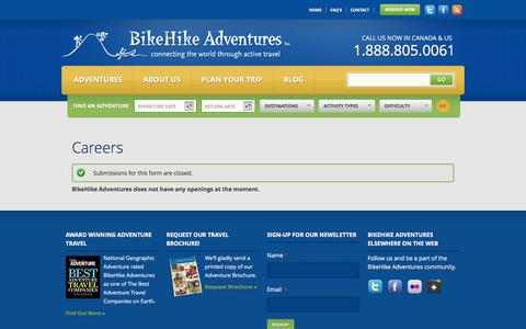 Screenshot of Jobs Page bikehike.com - Careers | BikeHike Adventures - captured Jan. 14, 2016