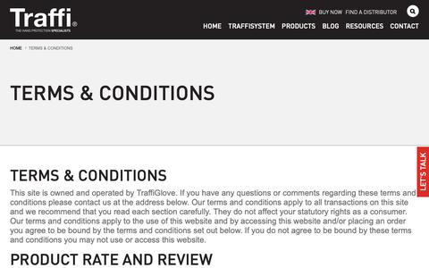 Screenshot of Terms Page traffiglove.com - TraffiGlove Terms and Conditions | Protective PPE Safety Gloves - captured June 4, 2019