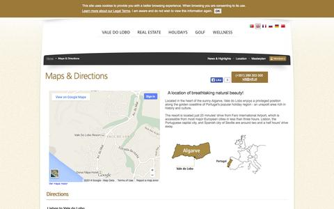 Screenshot of Maps & Directions Page valedolobo.com - Maps & Directions - Vale do Lobo - captured Oct. 6, 2014
