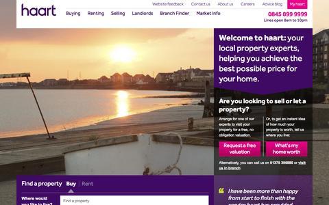 Screenshot of Home Page haart.co.uk - Estate Agents | haart - captured Oct. 1, 2015