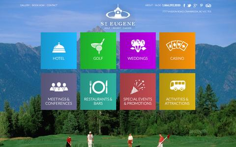 Screenshot of Home Page steugene.ca - St. Eugene Golf, Resort and Casino | Full Service Hotel in the Canadian Rockies - captured Feb. 16, 2016