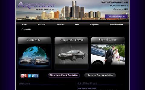 Screenshot of Home Page aristocattransportation.com - Limo Service Detroit | Aristocat Transportation - captured Sept. 30, 2014
