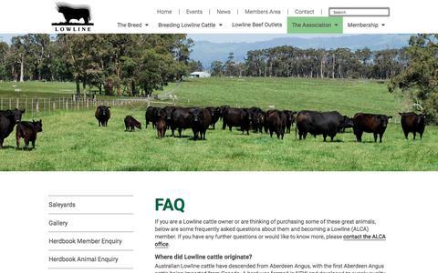 Screenshot of FAQ Page lowlinecattleassoc.com.au - Australian Lowline Cattle Association FAQ - ALCA - captured July 1, 2018