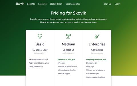 Screenshot of Pricing Page skovik.com - Pricing - captured June 16, 2017