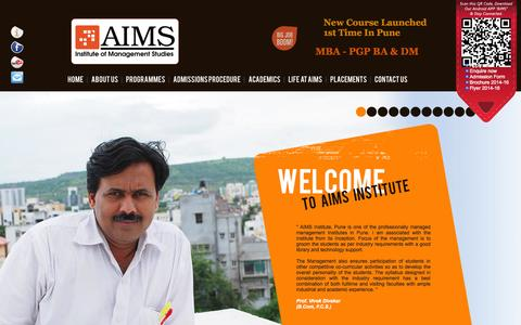 Screenshot of Testimonials Page aimsinstitute.in - AIMS Institute of Management Studies,Pune- Top B School in Pune, MBA - AICTE UGC APPROVED, Top Management College in Pune, Best B School of Pune - captured Oct. 4, 2014
