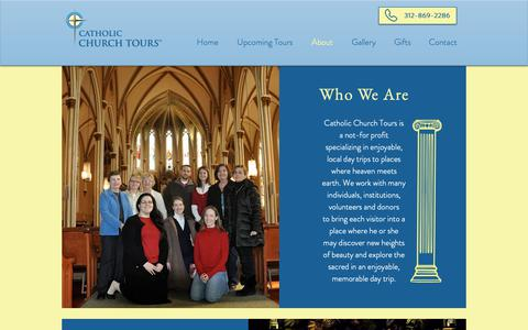 Screenshot of About Page catholicchurchtours.com - Catholic Church Tours  |  About - captured Dec. 7, 2018