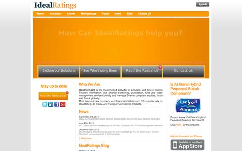 Screenshot of Home Page idealratings.com - Shariah Screening, Purification, Islamic Funds, Islamic Index, IdealRatings - captured Sept. 30, 2014