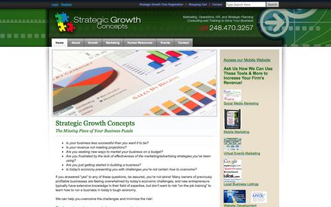 Screenshot of Home Page strategicgrowthconcepts.com - Strategic Growth Concepts home page - captured Oct. 1, 2014