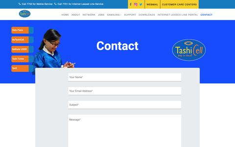 Screenshot of Contact Page tashicell.com - TashiCell | Contact - captured Dec. 10, 2018