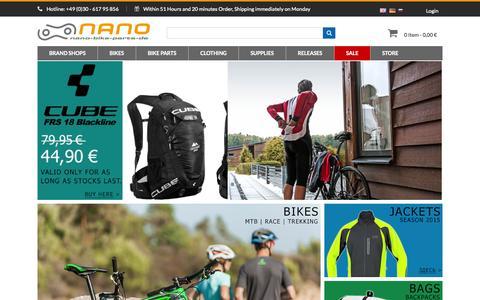 Screenshot of Home Page nano-bike-parts.de - Cube Bikes | Bike Parts | Specialized | Bike Shop | Bike Tuning - captured Sept. 22, 2014