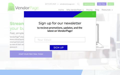Screenshot of Home Page vendorpage.com - Mobile Sales Tool - B2B Sales Platform - Sales Portal | VendorPage - captured July 8, 2018