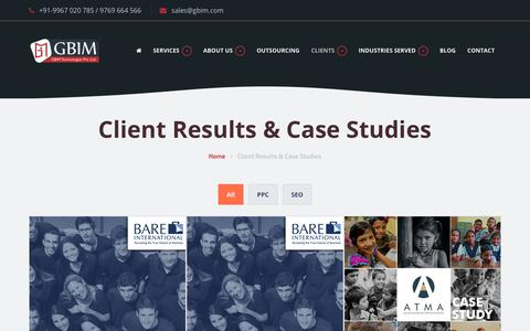 Screenshot of Case Studies Page gbim.com - Case Studies For SEO, SMO & PPC Clients From Mumbai - captured June 27, 2017