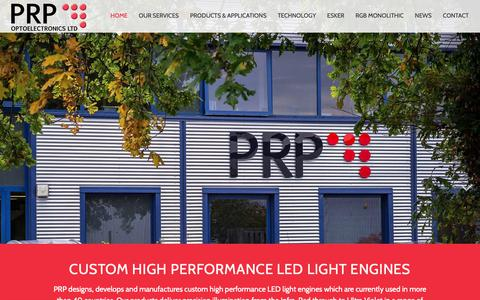 Screenshot of Home Page prpopto.com - PRP Optoelectronics Monolithic LED Water Purification UV - captured Dec. 13, 2018