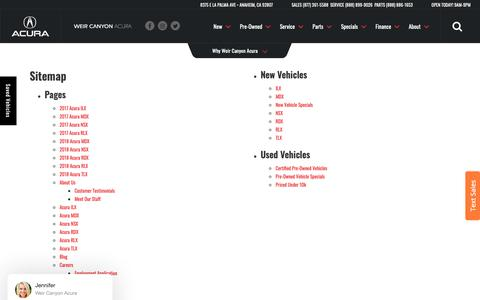 Screenshot of Site Map Page weircanyonacura.com - Sitemap | Weir Canyon Acura serving Yorba Linda - captured Oct. 18, 2018