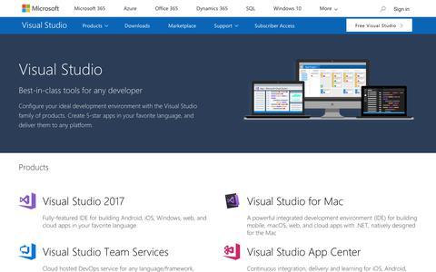 Screenshot of Products Page visualstudio.com - Visual Studio Products - captured Feb. 4, 2018