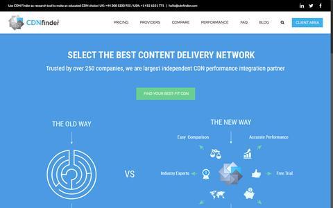 Screenshot of Home Page cdnfinder.com - CDN Finder | Content Delivery Network | CDN Services | CDN Performance - captured Oct. 5, 2015