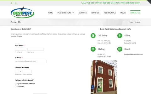 Screenshot of Contact Page bestpestsolutions.com - Contact Us – Pest Control Kansas City – Best Pest Solutions – Bugs, Mice, Rats, termites, bed bugs, ants, silverfish etc. - captured Oct. 10, 2017